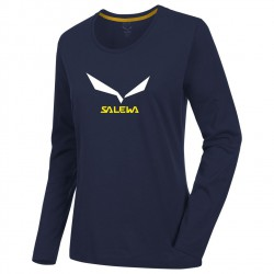 triko SALEWA Solidlogo 2 CO W L/S Tee night black